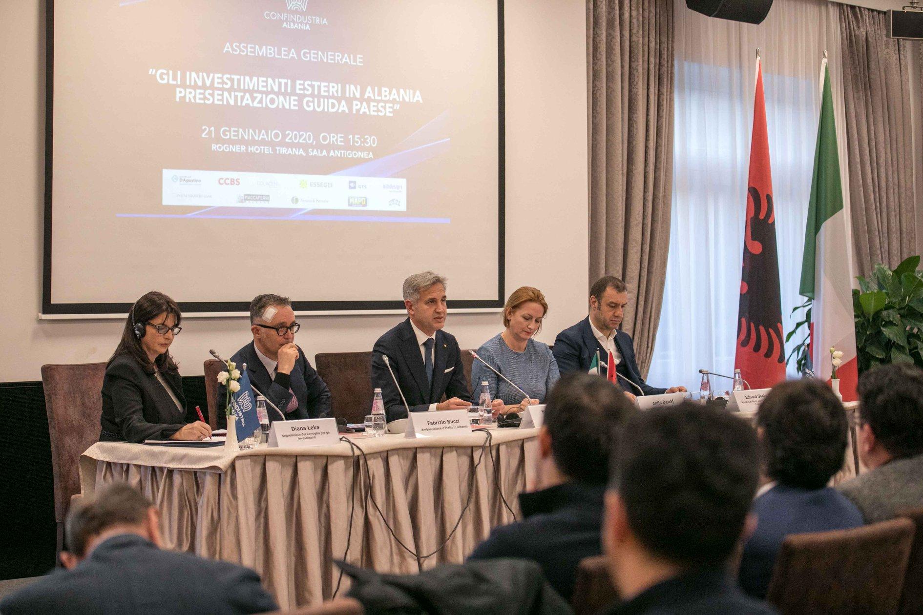 """Assemblea Generale Confindustria Albania, """"Gli investimenti esteri in Albania. Presentazione Guida Paese"""", 21 gennaio 2020."""