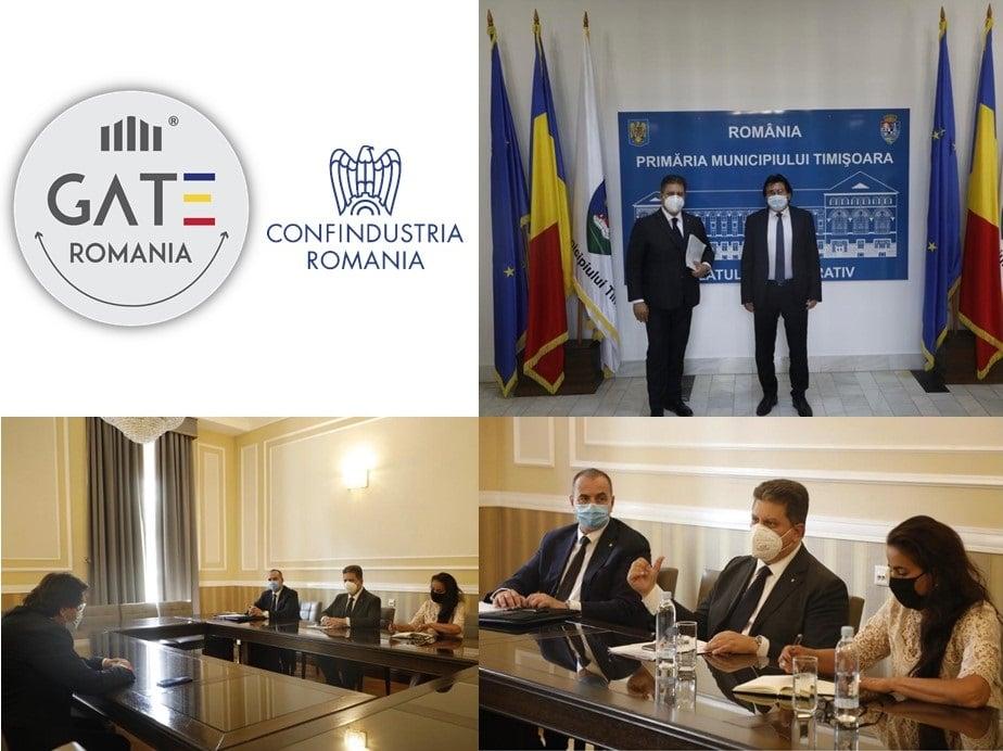 Incontro della missione di Confindustria Romania con il Sindaco di Timisoara, Nicolae Robu per la presentazione del progetto GATE ROMANIA declinato nei vari settori: technology, agricol, health e textile. 21 settembre 2020.