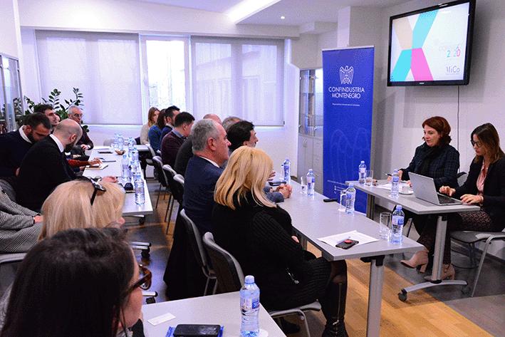 Presentazione Connext 2020 presso la sede della Camera di Commercio del Montenegro, gennaio 2020.
